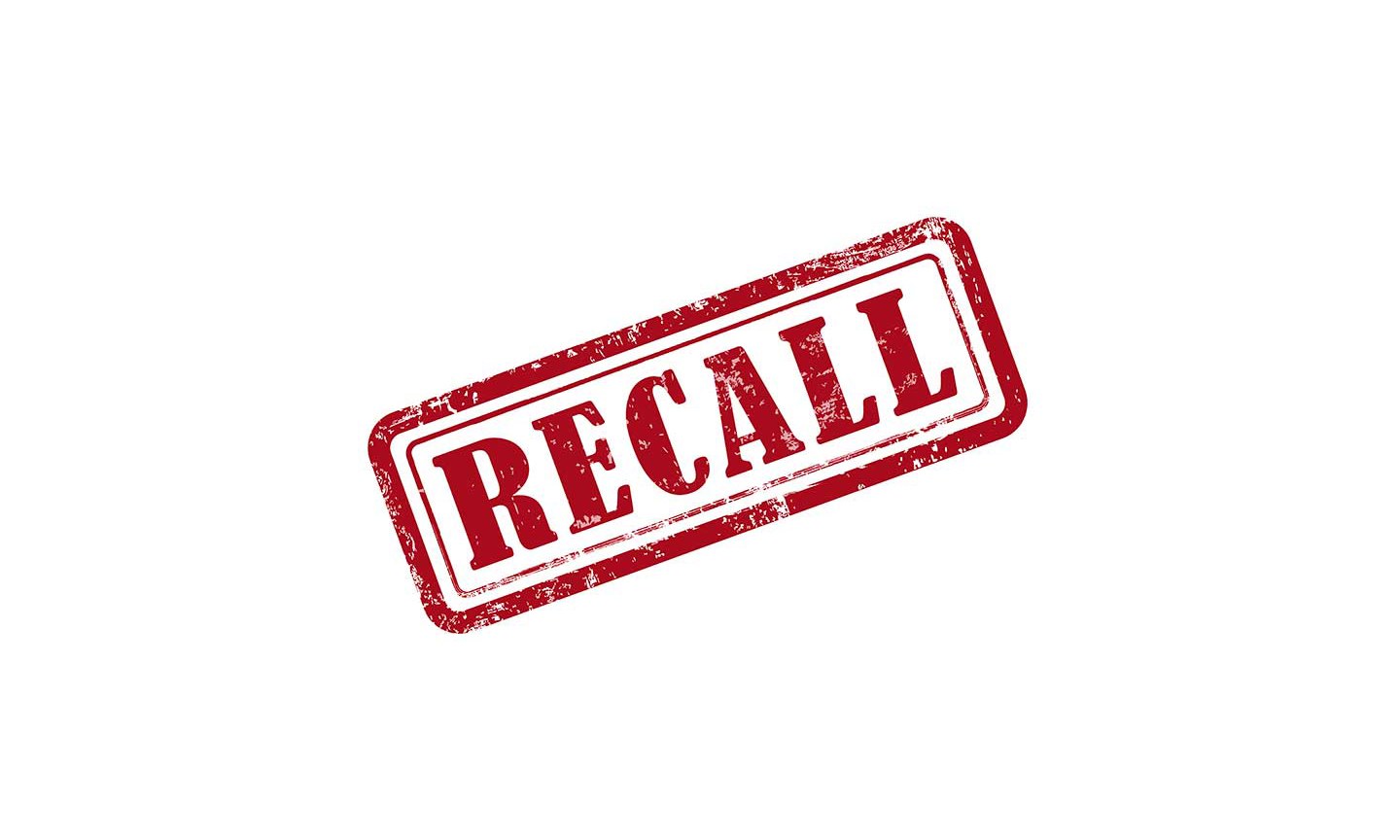 The word recall in they style of a stamp