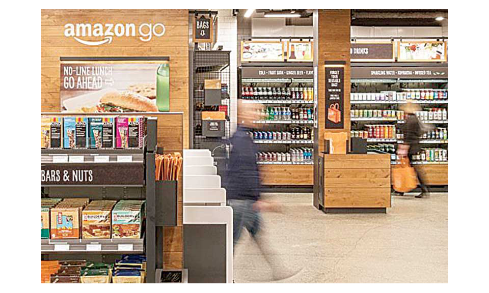 The inside of an Amazon Go store