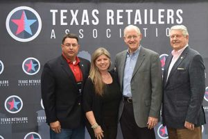Pictured at the Texas Retailers Advocacy Summit in March 2018 are, from left: TRA President and CEO George Kelemen; Amber Gustafson, Amber's Designs, and currently the immediate past chair of the TRA board of directors; U.S. Rep. Michael Conaway, who is the outgoing chair of the House Committee on Agriculture; and Texas state Rep. Paul Workman.