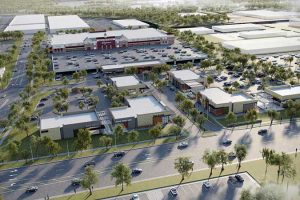 An aerial view rendering of Wegmans' planned store