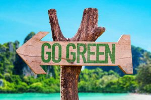 "A wooden sign that reads ""Go Green"", new year"