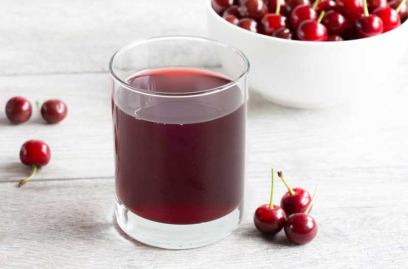 A glass of Montmorency tart cherry juice