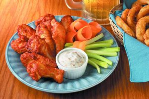 A plate of chicken wings