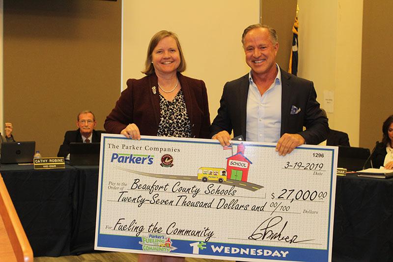 Parker's school donation