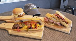 Specialty sandwich offerings at Rogers Market.