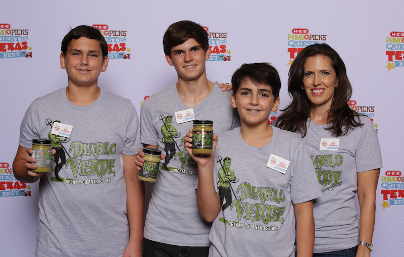 Luke, Ayden, George and Traci Johannson, 3 Sons Foods Diablo Verde Sauce, Houston.